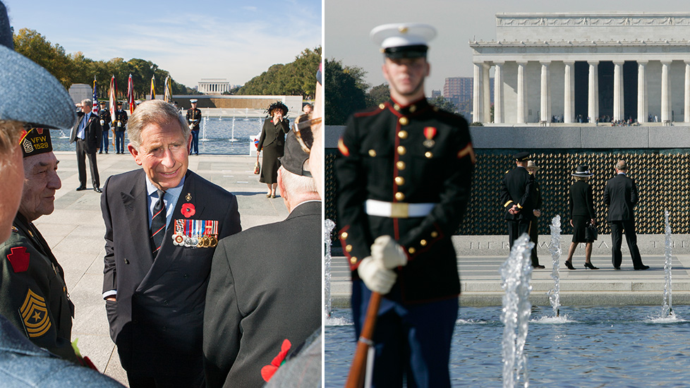 His Royal Highness, Charles, the Prince of Wales and Camilla, Duchess of Cornwall visit the WWII memorial in Washington DC.
