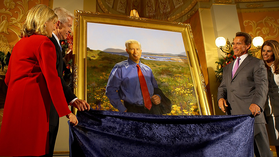 California Governor Gray Davis and Wife Sharon host the unveiling of the official gubernatorial portrait.
